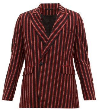 Ann Demeulemeester Striped Wool Blend Single Breasted Blazer - Mens - Black Red