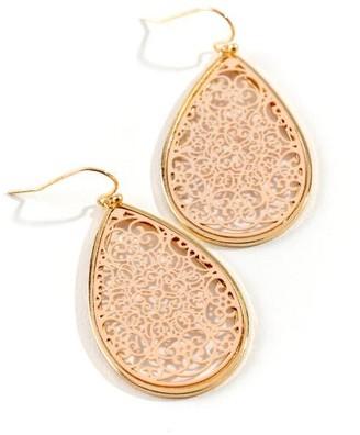 francesca's Hattie Filigree Teardrop Earrings - Pale Pink