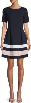 Eliza J Colourblock Fit--Flare Mini Dress