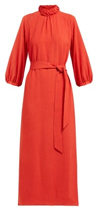 Cefinn - Tie-waist Gathered Voile Midi Dress - Womens - Red