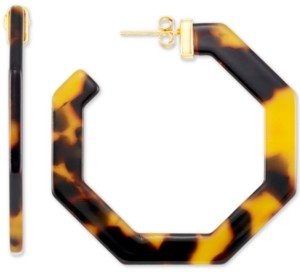 Simone I. Smith Medium Hexagon Tortoise Shell-Look Lucite Hoop Earrings in 18k Gold-Plated Sterling Silver