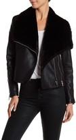 BLANKNYC Denim Faux Shearling Moto Jacket