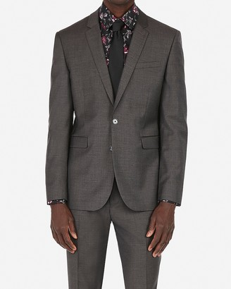 Express Extra Slim Charcoal Gray Wool-Blend Stretch Suit Jacket
