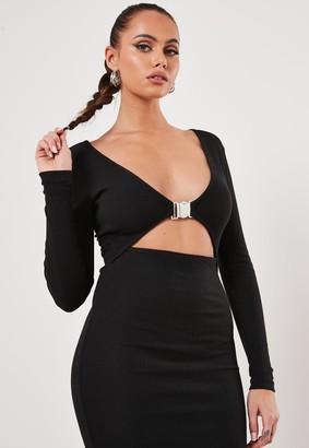 Missguided Black Rib Buckle Cut Out Midi Dress