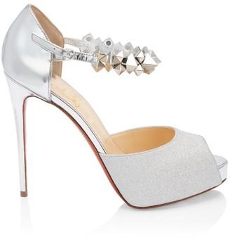 Christian Louboutin Planisfemme Studded Glitter Platform Sandals
