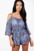 boohoo Amy Neon Tile Print Cold Shoulder Playsuit