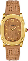 Versace 30mm Couture Oval Watch w/ Leather Strap, Golden/Brown