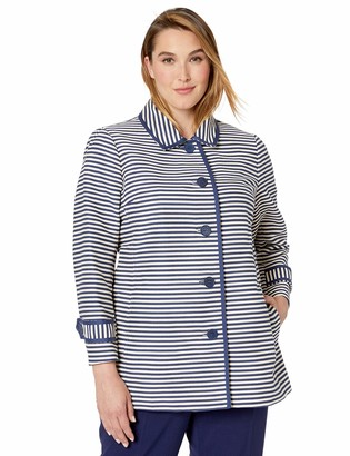 Anne Klein Women's Size Plus Collared Button Front Coat