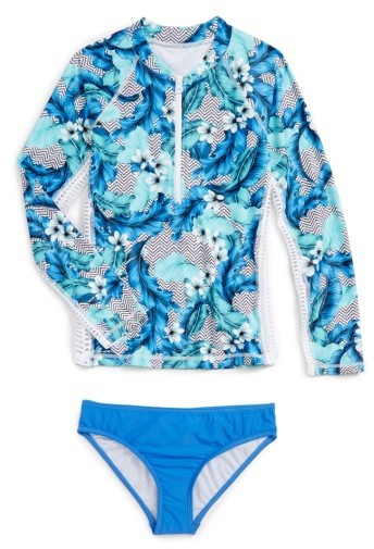 Seafolly Girl's Jungle Geo Two-Piece Rashguard Swimsuit