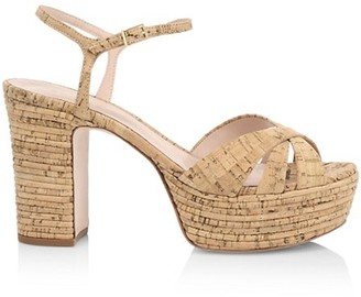Schutz Darilia Ribbed Cork Platform Sandals