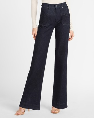 Express Mid Rise Patch Pocket Wide Leg Jeans