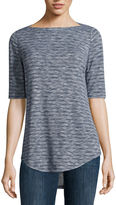 Liz Claiborne Elbow Sleeve Boat Neck T-Shirt