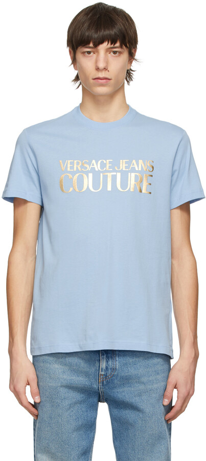 Versace Jeans Couture Blue Foil Logo T-Shirt