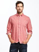 Old Navy Slim-Fit Red Chambray Classic Shirt for Men
