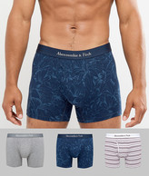 Abercrombie & Fitch 3 Pack Trunks Multi Pattern In Navy Floral/Grey/Burg Stripe