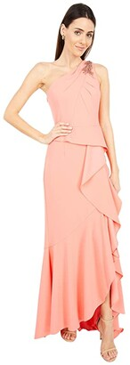 Adrianna Papell One Shoulder Pleated Crepe Gown with Beading (Coral Punch) Women's Dress
