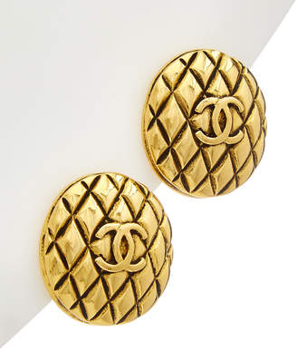 Chanel Gold-Tone Quilted Cc Round Earrings