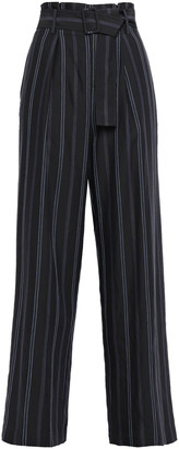 Vince Pleated Striped Twill Wide-leg Pants
