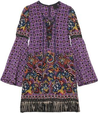 Anna Sui Printed Silk Crepe De Chine Mini Dress