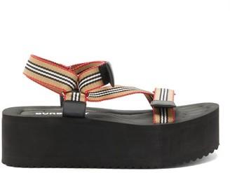Burberry Patterson Icon-stripe Flatform Sandals - Beige Multi