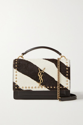 Saint Laurent Sunset Small Studded Leather And Zebra-print Calf Hair Shoulder Bag - Dark brown