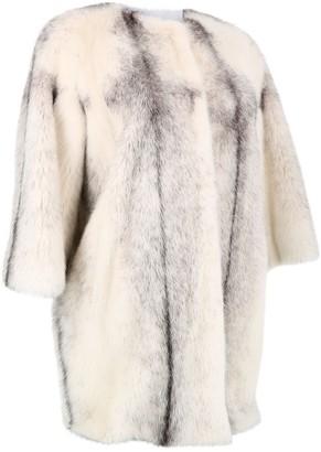 Yves Salomon White Fur Coat for Women