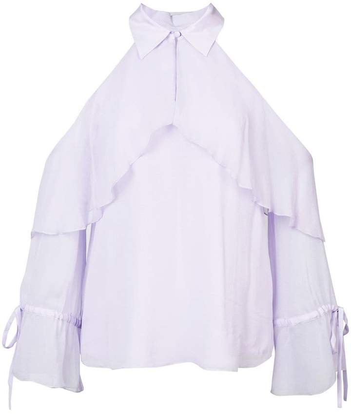 Alice + Olivia Alice+Olivia frill cold-shoulder blouse