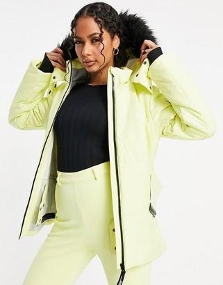 ASOS 4505 ski belted jacket with faux fur hood