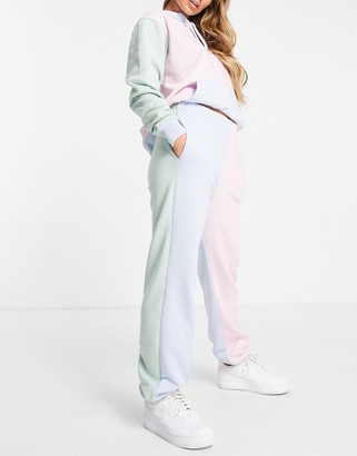 Nike mini metallic swoosh oversized pastel colour block joggers