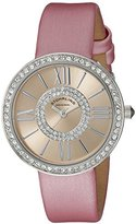 Stuhrling Original Women's Quartz Watch with Rose Gold Dial Analogue Display and Pink Leather Strap 566.03