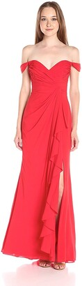 Badgley Mischka Women's Off The Shoulder Ruffle Skirt Gown