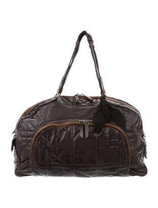 Lanvin Quilted Leather Bowling Bag Brown