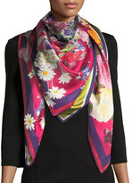 St. Piece Gloria Double-Sided Floral Silk Scarf, Red/Green