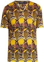 Etro Geometric-print V-neck linen T-shirt