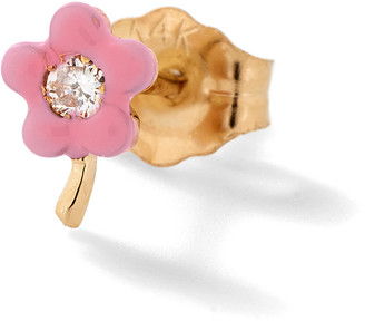 Alison Lou Pink Small Flower Stud Earring - Yellow Gold