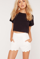Missguided Scallop Edge Crepe Shorts White