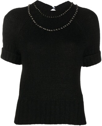 No.21 Crystal-Embellished Knitted Top