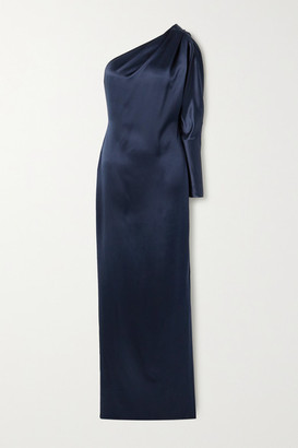 Cushnie One-sleeve Draped Crystal-embellished Silk-charmeuse Gown - Navy