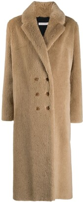 Inès & Marèchal Brown Double-Breasted Wool Coat