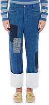 Loewe Men's Linen Patched Cuffed Trousers
