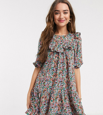 New Look Petite frill detail tiered smock dress in ditsy print