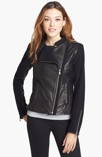 Andrew Marc New York 'Emmy' Leather & Wool Blend Jacket