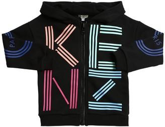 Kenzo Logo Print Zip-up Cotton Sweatshirt