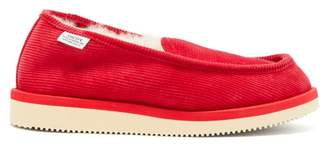 Suicoke Og 105comab Shearling Lined Corduroy Loafers - Womens - Red
