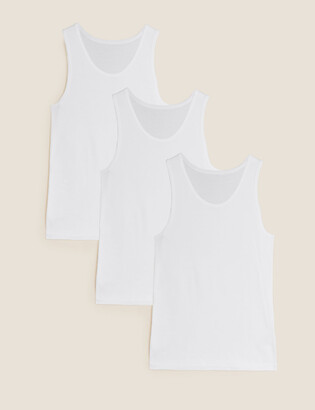 Marks and Spencer 3 Pack Pure Cotton Sleeveless Vests