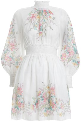 Zimmermann Zinnia Shirred Short Dress