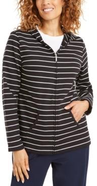 Karen Scott Striped Zippered Hoodie, In Petites, Created for Macy's