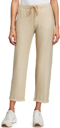 Majestic Filatures Metallic French-Terry Pull-On Crop Pants