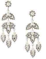 Cezanne Leaves Rhinestone & Faux-Pearl Statement Chandelier Earrings
