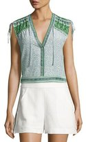 Veronica Beard Cher Paisley Silk Top, Green